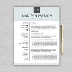 Professional Resume Template / CV Template for Word + Cover Letter Professional Resume Template Word, Modern Resume Template, Creative Resume Templates, Cv Template, Sample Resume, Resume Layout, Resume Tips, Resume Ideas, Resume Writing