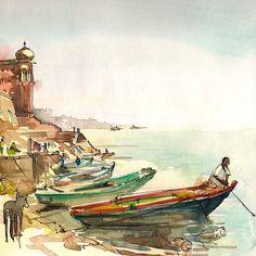 India Varanasi Boatman on the River watercolor by SketchAway, $23.00
