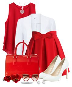 """""""When in doubt, wear red"""" by yonnama ❤ liked on Polyvore featuring Chicwish, River Island, Furla, Accessorize, Chloé, B. Brilliant, BERRICLE, red, skirt and blazer"""