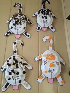 paper plate cat craft for kids. easy animal craft for preschooler. Daycare Crafts, Toddler Crafts, Preschool Crafts, Kids Crafts, Craft Projects, Animal Crafts For Kids, Paper Plate Art, Paper Plate Crafts, Paper Plates