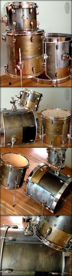 Custom-painted Steampunk/Industrial maple drums by Tedfreak in Minnesota!