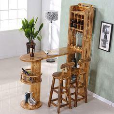 Home Wine Bar, Diy Home Bar, Home Bar Decor, Bars For Home, Mini Bar At Home, Furniture Plans, Furniture Making, Cool Furniture, Furniture Design