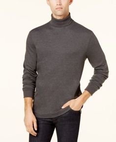 Club Room Men's Turtleneck Sweater, Created for Macy's - Gray XXL Mens Turtleneck, Ribbed Sweater, Cotton Sweater, Men Sweater, Warm Clothes For Men, Macy Gray, How To Look Handsome, Warm Outfits, Men Looks