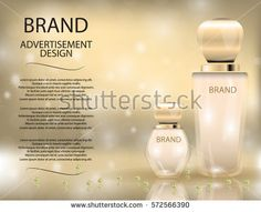 Glamorous perfume glass bottles on the  sparkling effects background. Mockup 3D Realistic Vector illustration for design, template