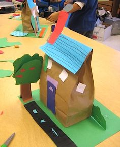 Paper Bag Houses- could use as the wise man built his house upon rock and draw rocks on the green construction paper.