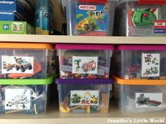 How to store and organise Lego - clear boxes with an image of the set laminated on the outside