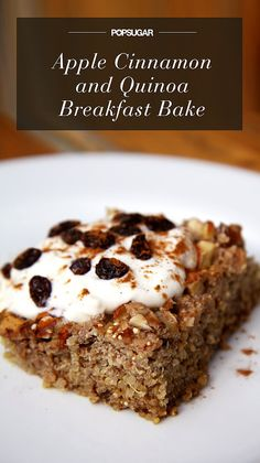 Under 300 Calories! Apple Cinnamon Quinoa Breakfast Bake // sub raw honey for maple syrup, serve with Greek yogurt