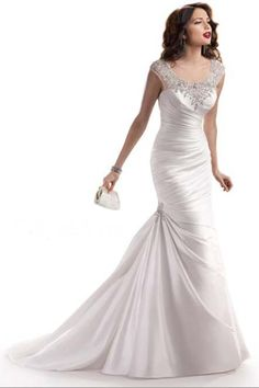 2013 Trumpet/Mermaid Scoop Sweep/Brush Train Elastic Satin Wedding Dress USD 193.59 LDPNJA34HR - LovingDresses.com