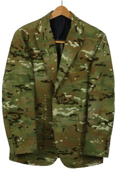 """Multicam Suit Jacket """" Made from cotton printed herringbone twill from Japan, this jacket includes 2 buttons, hook vent, and flap pockets. Military Fashion, Mens Fashion, Fashion Outfits, Military Green, Military Jacket, Mens Floral Blazer, Camouflage Jacket, Clothing Items, Vintage Looks"""