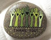 Happy Rock - Thank You - Hand-Painted River Rock - Hands Heart