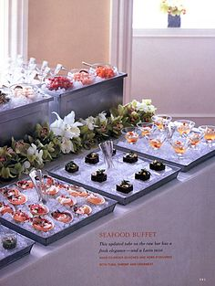 An updated take on a Seafood Buffet. Buffets, Party Buffet, Buffet Tables, Appetizer Buffet, Seafood Buffet, Cocktail Party Food, Cold Appetizers, Catering Display, Raw Bars