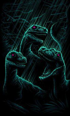 "Jurassic Park - Dan Mumford - ''Velociraptor's a Pack Hunter'' ---- Art featured in Hero Complex Gallery's ""Imagined Worlds -- tribute to Spielberg, Jackson, Nolan, Carpenter, and Cameron Jurrassic Park, Park Art, Harey Quinn, Dan Mumford, Movie Synopsis, The Lost World, Jurassic Park World, Dinosaur Art, Prehistoric Creatures"