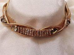 Vintage Hobe 1957 Necklace Mesh Rhinestone Gold Tone Choker Signed Dated | eBay