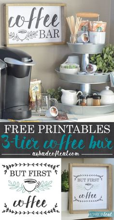 My updated coffee bar! Learn how to setup a Coffee Bar, plus get these FREE Coffee Printables! Coffee Bars In Kitchen, Coffee Bar Home, Coffee Bar Signs, Coffee Corner, Coffee Bar Party, Coffe Bar, Coffee Nook, Hot Coffee, Coffee Bar Station