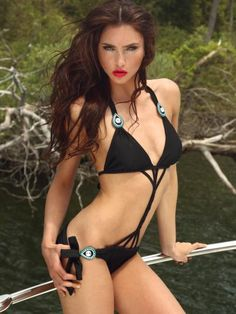 SEXY TWISTED ZEUGARI MONOKINI WITH TRIANGLE TOP AND TIE SIDE BOTTOM