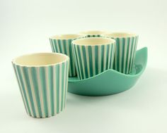 Vintage Hornsea Pottery 4 Summit Egg Cups on Stand + 1 by John Clappison