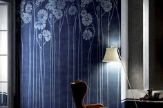 Glamora | DAISY BLUE - GLDE12 Vinyl Wallpaper, Minimalist Interior, Architectural Elements, Neutral Colors, Wall Design, Daisy, Furniture Design, Wall Decor, Interior Design