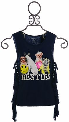 Flowers by Zoe Girls Top with Dogs in Navy