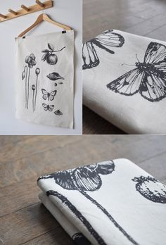 Botanical prints on tea towels similar to Slamseys Gin labels Silk Screen Printing, Printing On Fabric, Textile Prints, Textile Design, Linocut Prints, Fabric Painting, Crafts To Sell, Tea Towels, Fabric Crafts