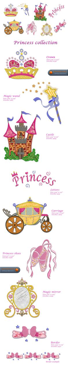 PRINCESS Embroidery Designs Free Embroidery Design Patterns Applique