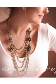 Gold and Crystal Layered Necklace