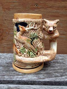 German beer stein Fox in the Woods
