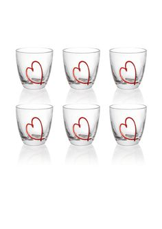 Bicchieri Acqua Love Set da 6 pezzi in vetro cristallino | Guzzini | Stilcasa.Net: set di bicchieri