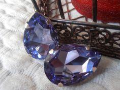 Tanzanite Swarovski crystal Pear fancy cut by ParisiJewelryDesigns, $34.00