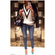 "Operation ""elevator"" continues...  #gianvitorossi #pumps #R13 #denim #ragandbone #sweater #vince #jacket #dior #bag"