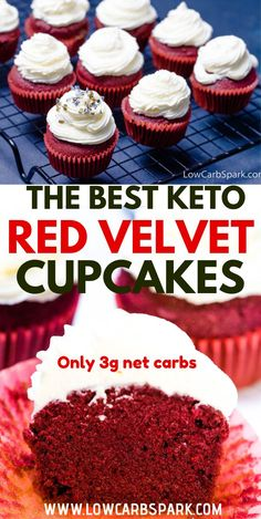 The Best Keto Red Velvet Cupcakes are fluffy, buttery, and moist. They are perfect topped with a luscious cream cheese frosting. A super festive keto recipe that's easy to make with almond flour and coconut flour. Keto Desserts, Brownie Desserts, Keto Friendly Desserts, Oreo Dessert, Mini Desserts, Easy Desserts, Dessert Recipes, Easy Cupcake Recipes, Sugar Free Desserts