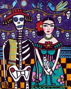 Mexican Day of the Dead Frida Kahlo and Skeleton Abstract Folk Art Painting By Heather Galler