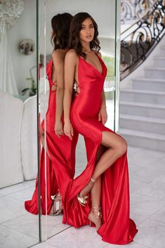 Red Satin Open Back Formal/Prom Dress - Alamour The Label Satin Gown, Satin Dresses, Prom Dresses, Formal Dresses, Formal Prom, Red Satin Prom Dress, Chiffon Dresses, Bridesmaid Gowns, Dress Prom