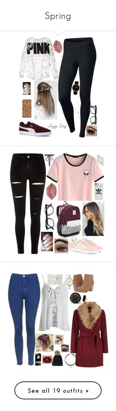 """Spring"" by always-his-number-1 ❤ liked on Polyvore featuring NIKE, Puma, Victoria's Secret, EF Collection, Lime Crime, Felony Case, adidas Originals, River Island, Casetify and Skagen"