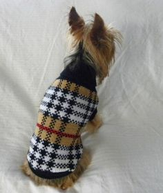 New Dog Cat Clothing Apparel Brown Plaid Sweater XS S M L