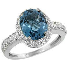 14K White Gold Diamond Natural London Blue Topaz Engagement Ring Oval 10x8mm, sizes 5-10