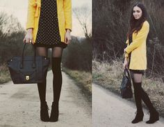 Sheinside Yellow Coat, Romwe Dots Print Dress, F&F Bag, Sammydress Retro Style Ring