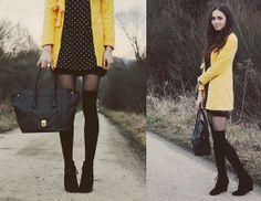 Sheinside Yellow Coat, Romwe Dots Print Dress, F&F Bag, Sammydress Retro Style Ring