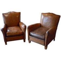 Pair of French Leather Art Deco Club Chairs Vintage Home Decor, Vintage Furniture, Cool Furniture, Modern Furniture, Leather Art, Brown Leather, Green Table Lamp, Contemporary Armchair, Black And White Marble