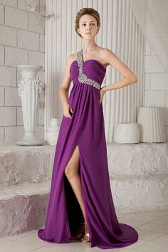 Buy miss earth beading one shoulder slit watteau train pageant dress from plus size pageant dresses collection, one shoulder neckline slit in purple color,cheap dress with backless back and watteau train for prom formal evening . Evening Dresses Plus Size, Chiffon Evening Dresses, Cheap Evening Dresses, Cheap Prom Dresses, Pageant Dresses, Evening Gowns, Pink Formal Dresses, Elegant Prom Dresses, Purple Dress
