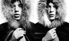 "David Bailey, Mick Jagger ""Fur Hood"" (1964), and Sandro Miller's version with John Malkovich."