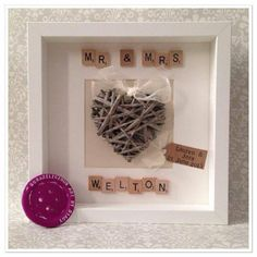 Scrabble Wedding Frame - Peachy Lemon