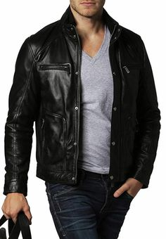 ffefab19a84d New Mens Leather Jacket Slim fit Biker Motorcycle genuine lambskin jacket  -. Black Leather Bomber ...