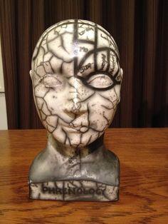 Phrenology head - raku, Elaine Marland, 2014