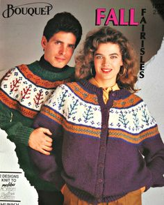 Sweater Knitting Patterns Cardigan Nordic His Hers Fall Fairisles Bouquet 1237 Men Women Chunky Weight Yarn jumpPaper Original NOT a PDF by elanknits on Etsy