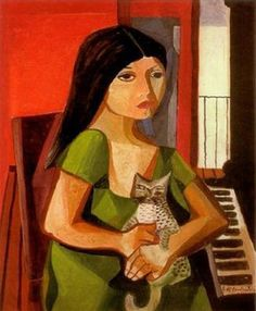 Emiliano Augusto Cavalcanti de Albuquerque Melo a.k.a. Di Cavalcanti (Brazilian, 1897 – 1976) - Girl with cat and piano, 1967