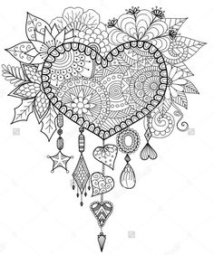 Adult Dreams Catcher Heart Mandala Zen Coloring Pages Printable And Book To Print For Free Find More Online Kids Adults Of