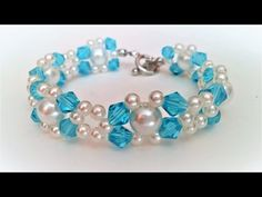 Easy Tutorial on Making a Cute Blue and White  Bead Bracelet for Spring Season - YouTube