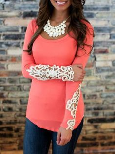 Pink Lace Cutout Long Sleeve Bodycon Top