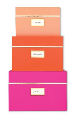 office, work, office supplies, office storage, storage, boxes, pink, pink office supplies, pink boxes, kate spade, kate spade nesting boxes