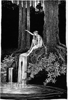 illustration ☘ ida rentoul outhwaite ~ the waterfall fairy the enchanted forest encre de chine crayon pencil Art Et Illustration, Illustrations, Arte Obscura, Fairytale Art, Wow Art, Fairy Art, Faeries, Oeuvre D'art, Art Inspo